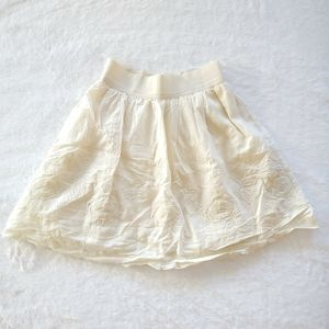 F21 - Ivory Embroidered Floral Skirt